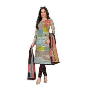 Women's casual cotton printed unstiched dress material