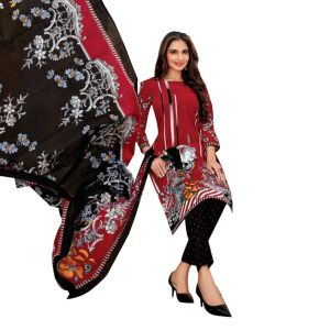 Women's printed casual cotton dress material in maroon