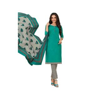 Women's printed cotton dress material in pine