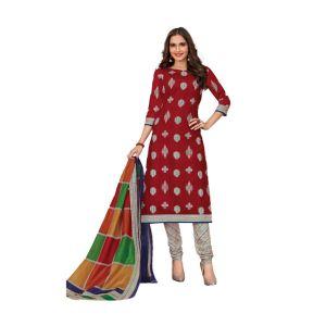 Women's designer unstiched dress material in maroon