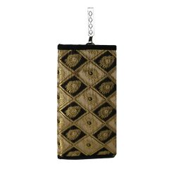 Mobile pouch for Women - Traditional ethnic raw silk bag