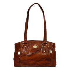Pure leather brown hand bag with unique pattern