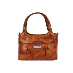 Women's pure leather brown hand bag