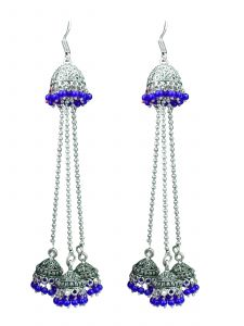 Oxidized Silver Blue Jhumka for Girls