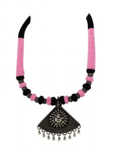 Antique Oxidised Silver Plated Jewelry Set with Pink Thread Color
