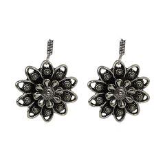 Oxidise silver Beaded Round Shape Earrings For Girls/Women