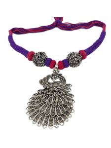 Antique Oxidised Silver Plated Jewelry Set with  Pink & Blue Thread Color