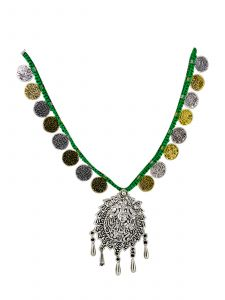 Antique Oxidised Silver Plated Jewelry Set with Green Thread Color