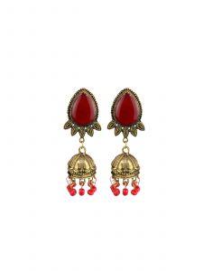 Traditional Pan Shape Gold Plated Jhumkhi Earrings For Girls/Women